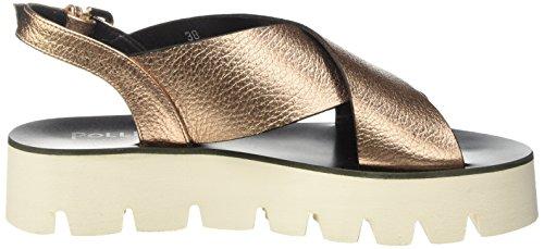 Pollini Zepni, Sandalias Platas de Cuñas para Mujer Dorado/Blanco (Quarzo Laminato)