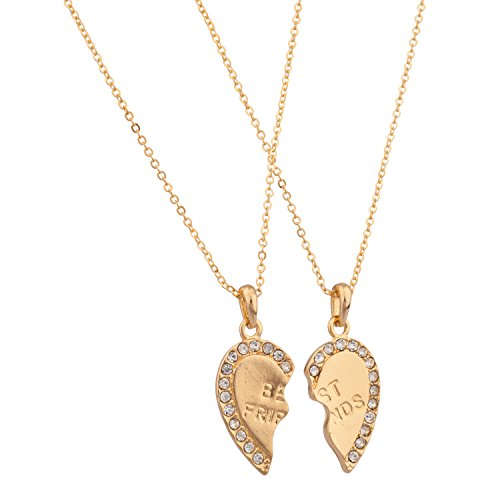 Lux Accessories Best Friends BFF Forever Necklace w/Rhinestone Studded Valentine Hearts (2 PC)
