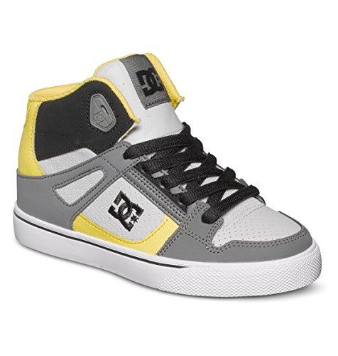 DC Spartan High Skate Shoe (Little Kid/Big Kid),Grey/Black/Yellow,13 M US Little Kid