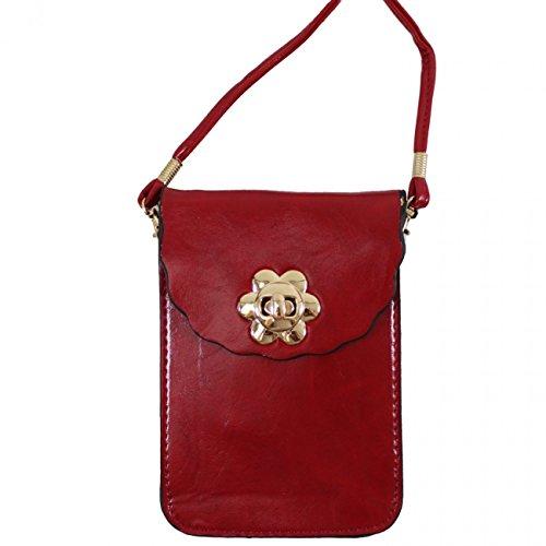 Phone Bags Bag LeahWard Sex Bag Brown Mini Crossbody Uni LeahWard Red Case Button Across 828 Women's Body Small Phone Men's qZCxSq