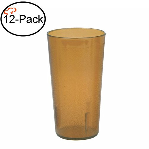 Tiger Chef 16-Ounce, 12-Pack Amber Stackable Restaurant Beverage Cup Plastic Tumbler (Amber Tumbler)