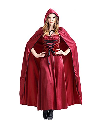 Riding Horse Little Red Costume Hood (Slocyclub Women's Ankle Length Party Dress Little Red Riding Hood Costume Red M bust 35.4  waist 29.9 )