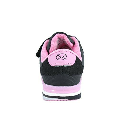 Axim Hallenschuhe für Mädchen Sneaker zur Schule mit Klettverschluss (1077) (29-18,8cm, Schwarz)