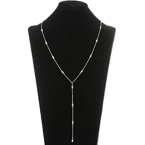 (Lariatneck Y Lariat Necklaces for Women Long Drop Silver CZ Station Y Necklace Chain)