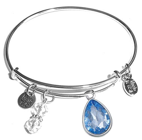 Hidden Hollow Beads Message Charm (84 Options) Expandable Wire Bangle Women's Bracelet, in The Popular Style, Comes in A Gift Box! (Birthstone - Gift Box Bead Silver