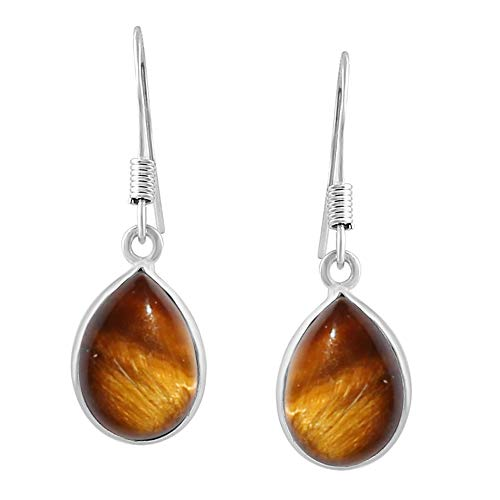 Tiger Eye Tear Drop Dangle Earrings 925 Silver Plated Handmade Jewelry For Women Girls ()
