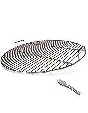 huanniu 304 grillgaller rostfritt stål rund med handtag, 54,5 cm diameter för 57 cm kolgrillar t.ex. Weber, grillgaller ersättning 57 cm, med grillklämmor