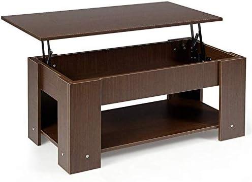 Espace de Rangement Cach/é sous Plateau et Etag/ère Inf/érieure pour Rangement GOPLUS Table Basse avec Plateau Relevable 98 x 50 x 42 CM Style Moderne en Mat/ériau Ecologique caf/é
