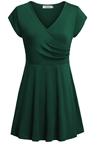 ve Dress Top for Women Summer Simple Wrap Ruched Tunic Shirt,Green,Large (Flutter Cap Sleeve Tunic Top)