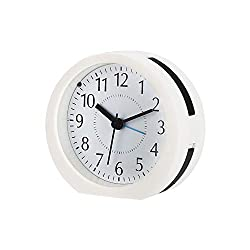 Onioc Kids Analog Alarm Clock Backlight, Snooze, Non-Ticking Silent, Extra Loud Alarms Heavy Sleeper, Battery Operated Portable Bedroom Travel. (White Black)