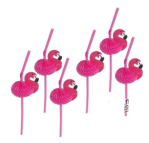 Astra Gourmet Pink Flamingo Decorative Cocktail Drinking Straws/ Tissue Flexi-straws/ TROPICAL PARTY Decorations, 30 Count ()