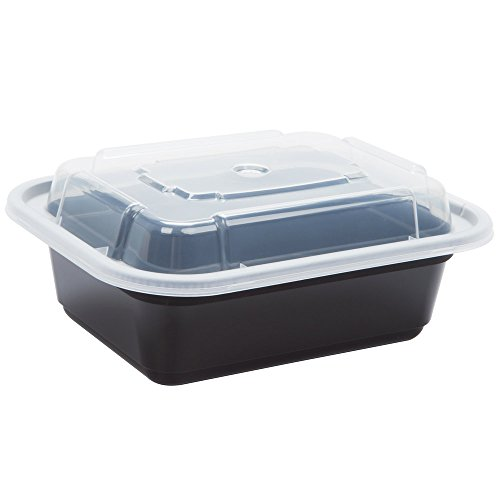 Reusable Microwaveable Food Storage Containers - Pack of 10 Stackable Bento Lunch Boxes with Lids, Freezer and Dishwasher Safe - 1 Compartment, 12oz - Black -By Homeryware