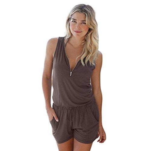 Beikoard - Robes Femmes Bodysuit Jumpsuit Combinaisons,Femme Dcontract Zipper Mini Combishort Dames Jumpsuit Summer Beach Barboteuses Marron