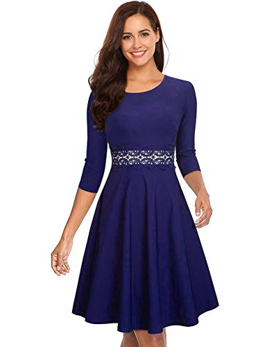 GloryStar Women's Retro Cocktail Fit Flare Empire Waist Embroidery Wedding Guest Dress for Party Dark Blue XXL
