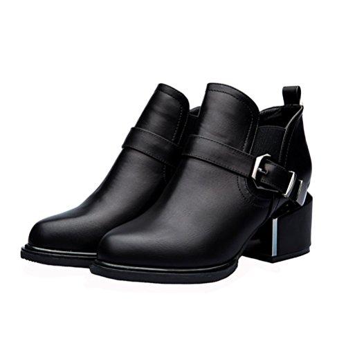 Laikajindun Kvinnor Mode Chelsea Boot Läder Tillfällig Kvadrat Häl Kort Boot (röd / Svart) Svart