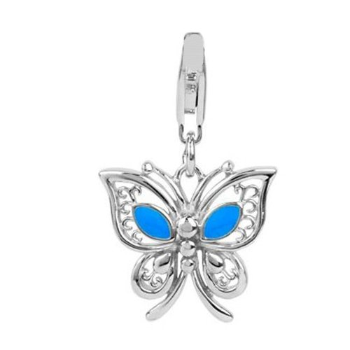 Jovana Sterling Silver Links Charm Butterfly with Blue Enamel, Loberster Clasp