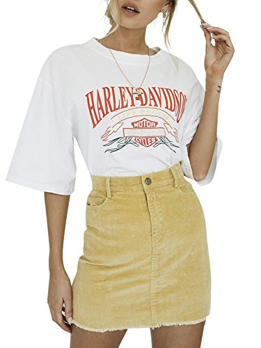 Simplee Apparel Women's Vintage Retro Corduroy High Waisted Bodycon Mini Skirt, Yellow, 4/6, Small