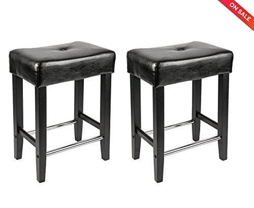 LCH 24-Inch Bonded Leather Bar Stools, Backless Counter Stools with Wood Legs, Black, Set of 2 (Counter Stool Bonded Leather)