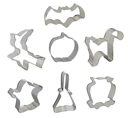 Halloween Cookie Cutters - 7 Pieces Set - Pumpkin, Ghost, Bat, Witch, Owl, Cat, Broom Stainless Steel -