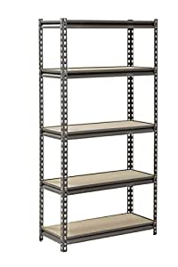 "Muscle Rack UR301260PB5P-SV Silver Vein Steel Storage Rack, 5 Adjustable Shelves, 4000 lb. Capacity, 60"" Height x 30"" Width x 12"" Depth"