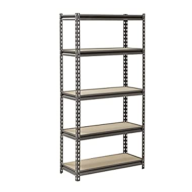 Muscle Rack UR301260PB5P-SV Silver Vein Steel Storage Rack, 5 Adjustable Shelves, 4000 lb. Capacity, 60  Height x 30  Width x 12  Depth