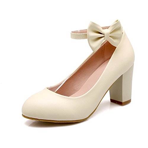 AmoonyFashion Womens Round Closed Toe High Heels Buckle Solid Pumps-Shoes Beige NLeu6
