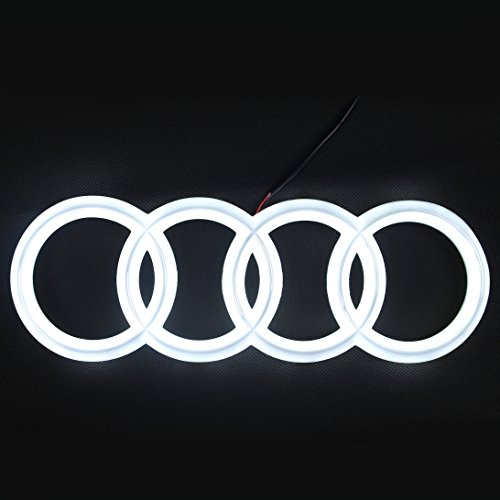 JetStyle [2018 UPGRADED Audi A6 A7 Q3 Q5 Q7 LED Emblem, Front Car Grill Badge, Auto Illuminated Logo, Glowing Rings, Lights DRL Daytime Running Lights White - Drive Brighter