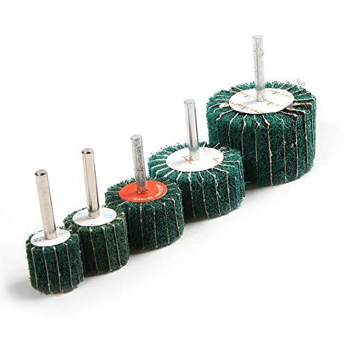 Maslin Top-quality 5pcs/Set 6mm Shank Fiber Grinding Head Multipurpose green Scouring pad Dremel Rotary Accessories Polishing Wheel (Hat Wool Drill)
