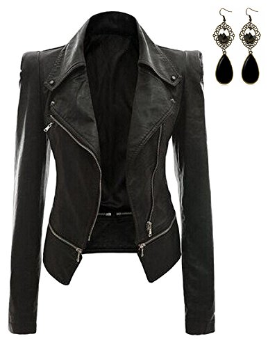 (Oioninos Women Leather Jacket Slim Punk Bomber Casual Zipper Short)