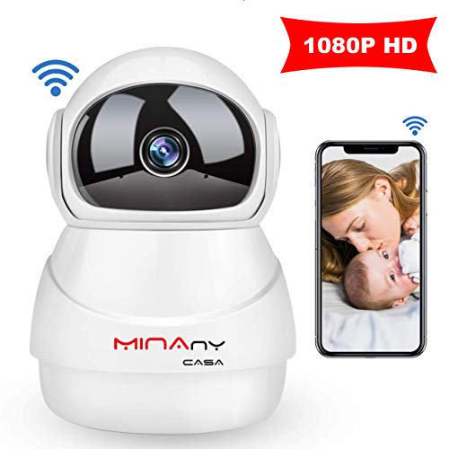 IP Camera 3D MINANY CASA HD1080P Wireless 360 Wireldegree Panorama View,WiFi Night Vision,Two-Way Audio & Motion Detection Digital Zoom/Pan for Baby/Elder/Pet/Nanny/Home Security System (White)