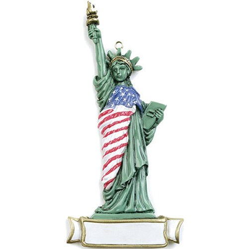 Personalized Statue of Liberty Christmas Tree Ornament 2019 - Green Sculpture American Flag New York City Harbor USA Holiday Visitor Traveler Tourist Gift Souvenir - Free Customization