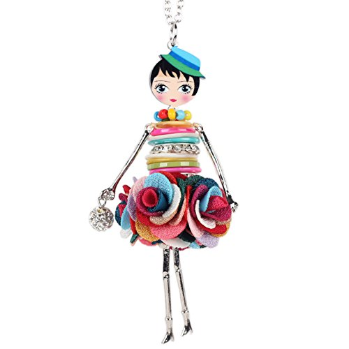 Paris Doll Necklace Dress Handmade Pendant News Alloy Metal Crystal Flower Long Chain Fashion Jewelry