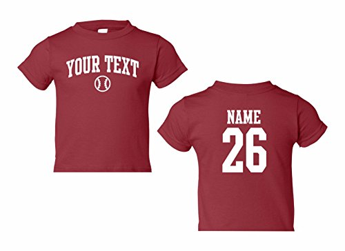 Price comparison product image Infant Custom Personalized T-shirt,  Baseball Arched Text,  Back Name & Number