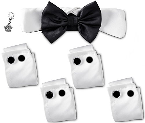 - Rubie's Costume Co Formal Tux Bow Tie Collar and Cuff Set with Rhinestone Clip Charm - White - for Dogs Size (S/M - fits neck 9