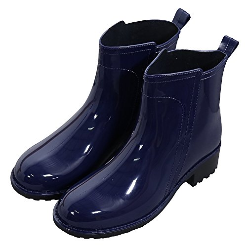 Waterproof Garden Stylish Navy On Boots Ankle Blue rismart High Slip Rain Casual Women's q60Bw0