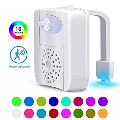 Toilet Night Light, Toilet Bowl Light with 16-Color Motion Sensor and UV Disinfect,for Children's Christmas Present