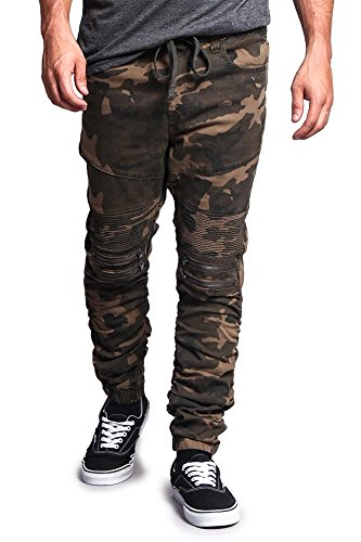 Victorious Scrunch Stacked Biker Twill Jogger Pants JG882 - CAMO - X-Large - K1A