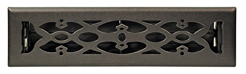 Accord AMFRBLV212 Floor Register with Victorian Design, 2-Inch x 12-Inch(Duct Opening Measurements), Matte Black (Inch 12 Register)