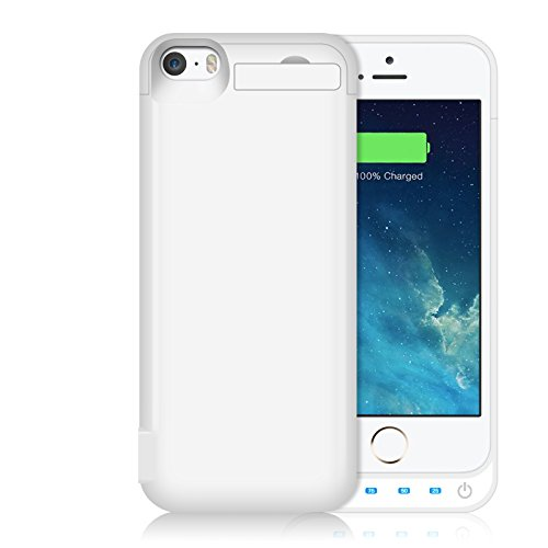 iPhone 5S/5SE/5C/5 Battery Case HETP Backup Charger Case Protection Cover 4600mAh Extended Battery Built in USB Power Bank & Pop-out Kickstand Charging Case(Up to 2.65X Extra Battery Life) White