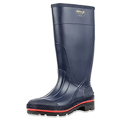"""Servus MAX 15"""" PVC Chemical-Resistant Soft Toe Women's Work Boots, Navy, Red & Black (75126)"""