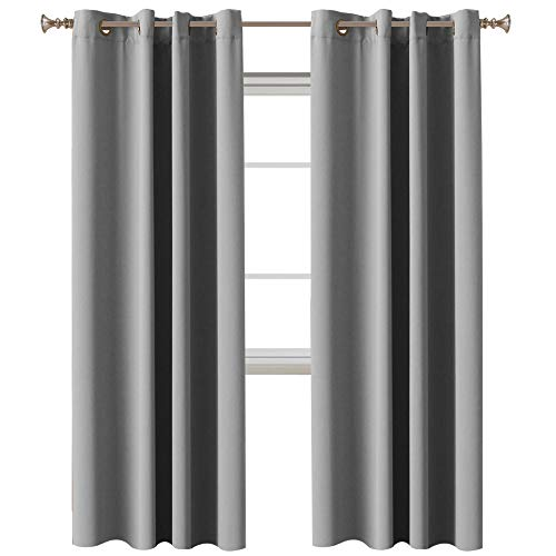 (Bedroom Blackout Curtains Panels Thermal Insulated Blackout Curtains for Bedroom, Energy Saving Thermal Insulated Solid Grommet Blackout Nursery Curtains, Dove Gray, 2 Panel, 52
