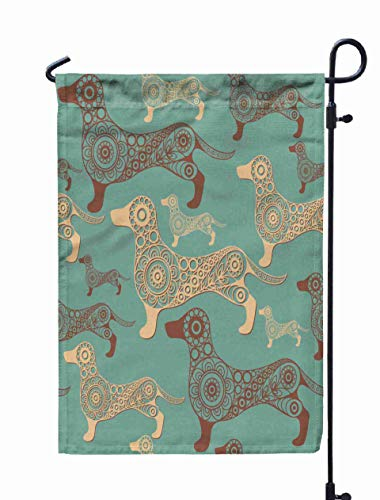 Shorping Welcome Garden Flag, 12x18Inch Abstract Background Earth Dog Hound Symbol Texture Pattern Textile Wallpapers Print Wrapping for Holiday and Seasonal Double-Sided Printing Yards Flags