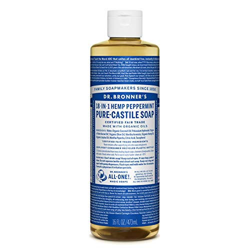 Dr. Bronner's Pure-Castile Liquid Soap Shower and Travel Pack - Peppermint 16oz. (2 Pack) (Dr Bronners Tea Tree Bar Soap Reviews)