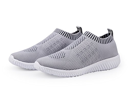 DMGYDAF Women's Lightweight Walking Athletic Shoes Breathable Mesh Sneakers Casual Running Shoes Gray 39 by DMGYDAF (Image #4)