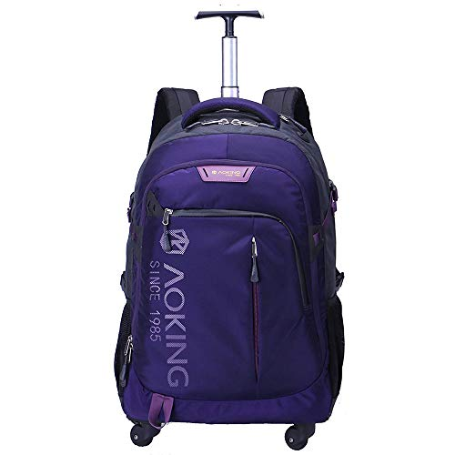 - AOKING 20/22 Inch Water Resistant Travel School Business Rolling Wheeled Backpack with Laptop Compartment Bag, Carry On Luggage with Spinner Wheels (22 inch, Purple)