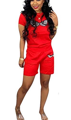 - Womens Two Piece Outfits Short Sleeve Crop Tops Short Pants with Pocket