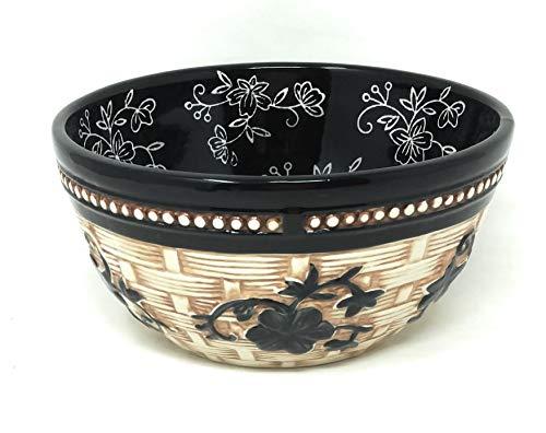(Temp-tations Basketweave Bowl, Mix, Bake, Serve, 1.5 Qt, Stoneware (Floral Lace Black))