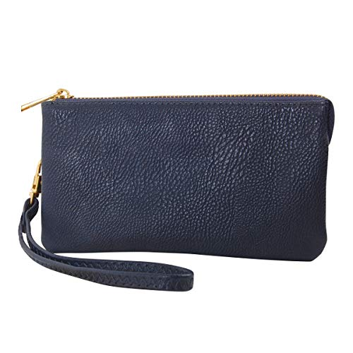 Humble Chic Vegan Leather Wristlet Wallet Clutch Bag - Small Phone Purse Handbag, Navy Blue, Dark Blue