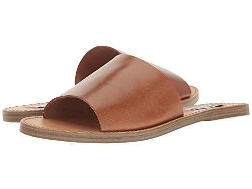 Steve Madden Women's Grace Flat Sandal, Cognac Leather, 8 M US (Sandals Leather Brown)