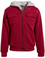 Quad Seven Boys Fleece Full-Zip Hooded Sweatshirt with Sherpa Lining